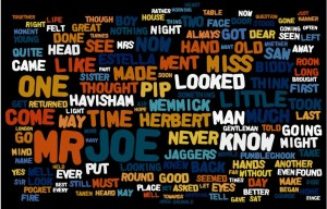 The 150 most frequently used words in Charles Dickens's Great Expectations (1861).