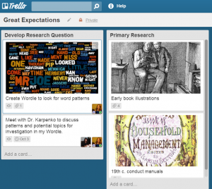 An example of a Trello board for a student working on a research project about Charles Dickens's Great Expectations.
